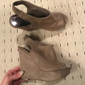 Shoes - faux suede chunky wedges